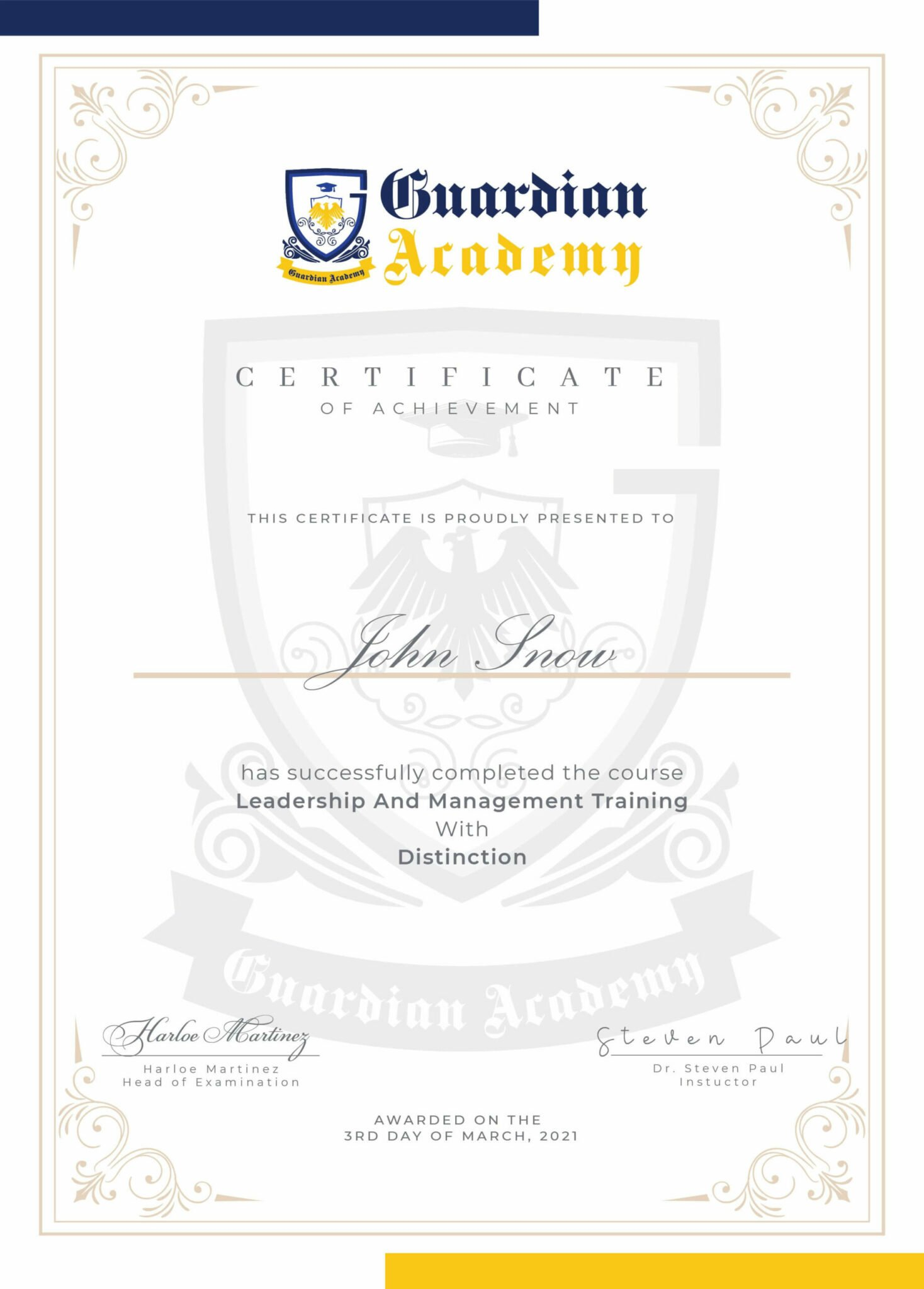Guardian Academy Professional Certificate